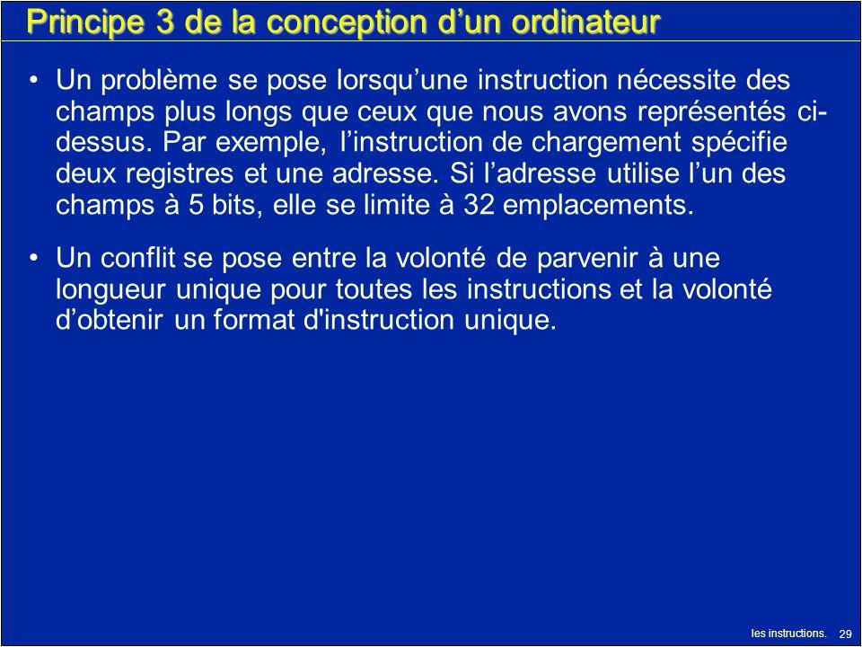 les instructions. 29 Principe 3 de la conception dun ordinateur Un problème se pose lorsquune instruction nécessite des champs plus longs que ceux que