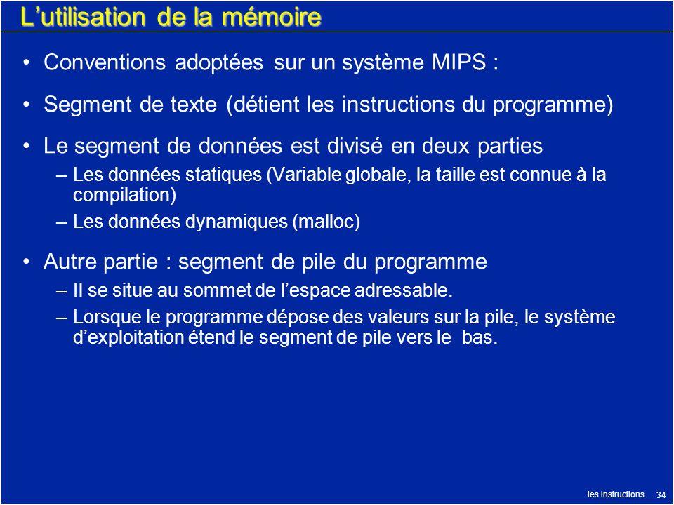 les instructions. 34 Lutilisation de la mémoire Conventions adoptées sur un système MIPS : Segment de texte (détient les instructions du programme) Le