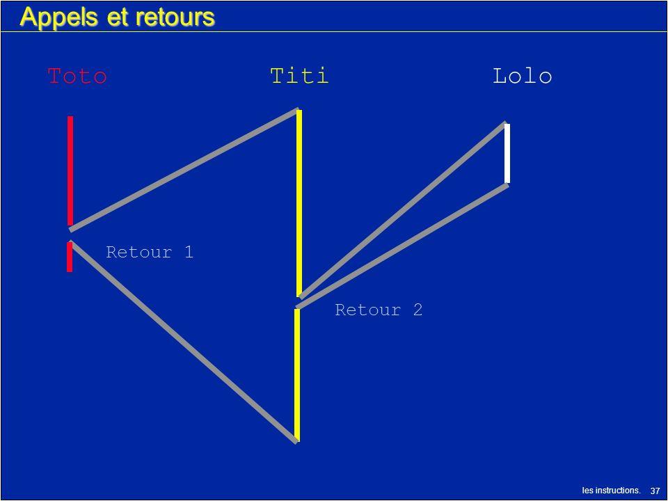 les instructions. 37 Appels et retours TotoTitiLolo Retour 1 Retour 2