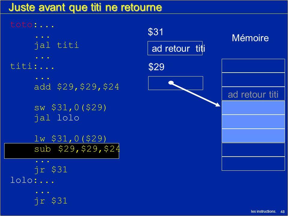 les instructions. 48 Juste avant que titi ne retourne $29 $31 ad retour titi Mémoire ad retour titi toto:...... jal titi... titi:...... add $29,$29,$2