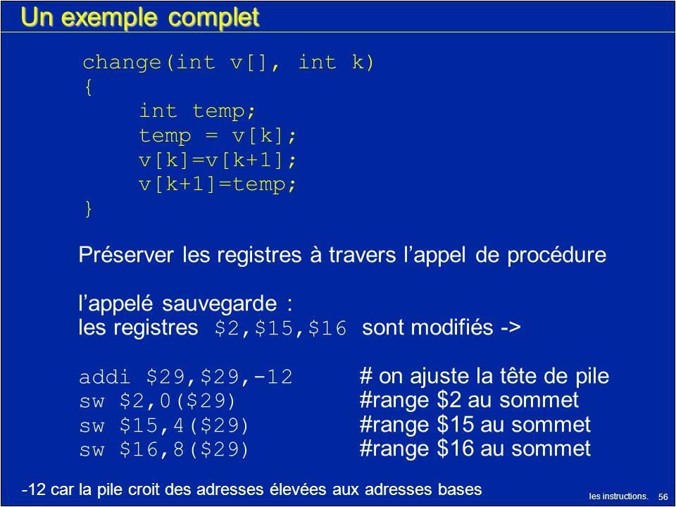 les instructions. 56 Un exemple complet change(int v[], int k) { int temp; temp = v[k]; v[k]=v[k+1]; v[k+1]=temp; } Préserver les registres à travers