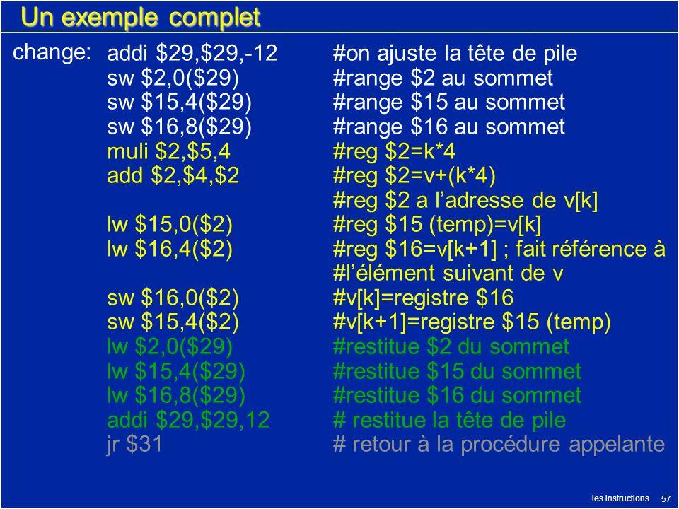 les instructions. 57 Un exemple complet addi $29,$29,-12#on ajuste la tête de pile sw $2,0($29)#range $2 au sommet sw $15,4($29)#range $15 au sommet s