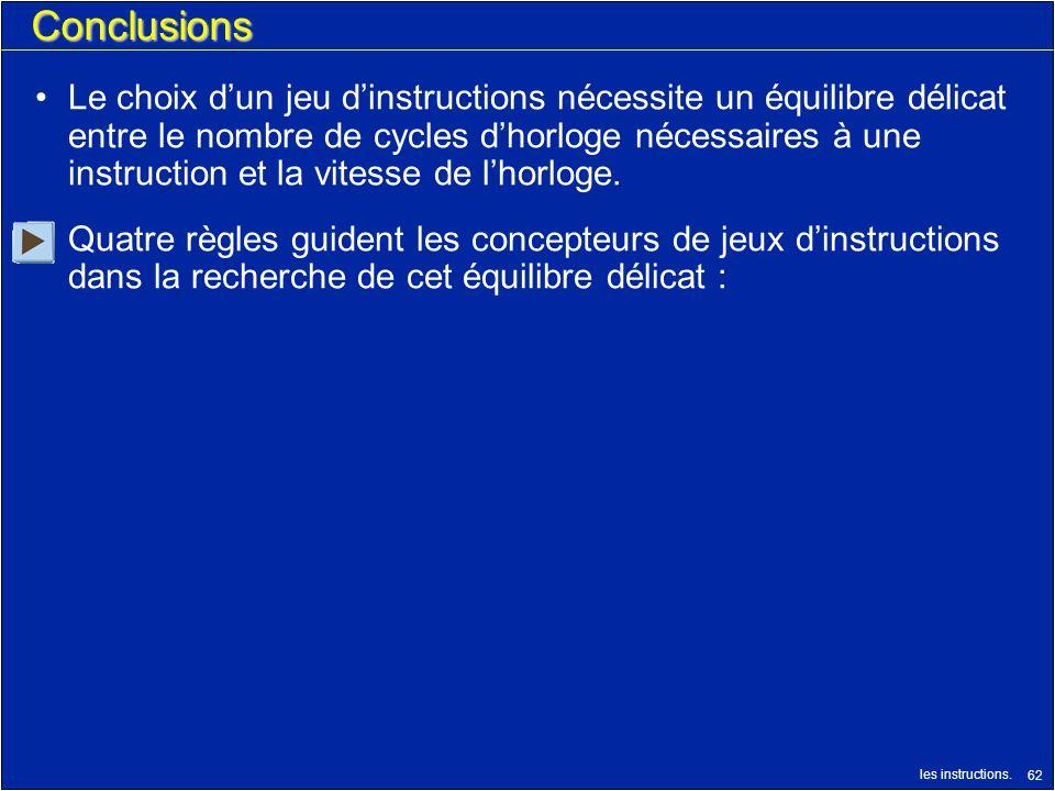 les instructions. 62 Conclusions Le choix dun jeu dinstructions nécessite un équilibre délicat entre le nombre de cycles dhorloge nécessaires à une in