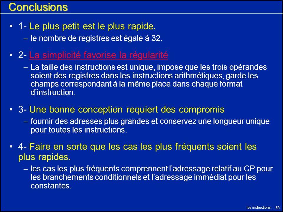 les instructions. 63 Conclusions 1- Le plus petit est le plus rapide. –le nombre de registres est égale à 32. 2- La simplicité favorise la régularitéL