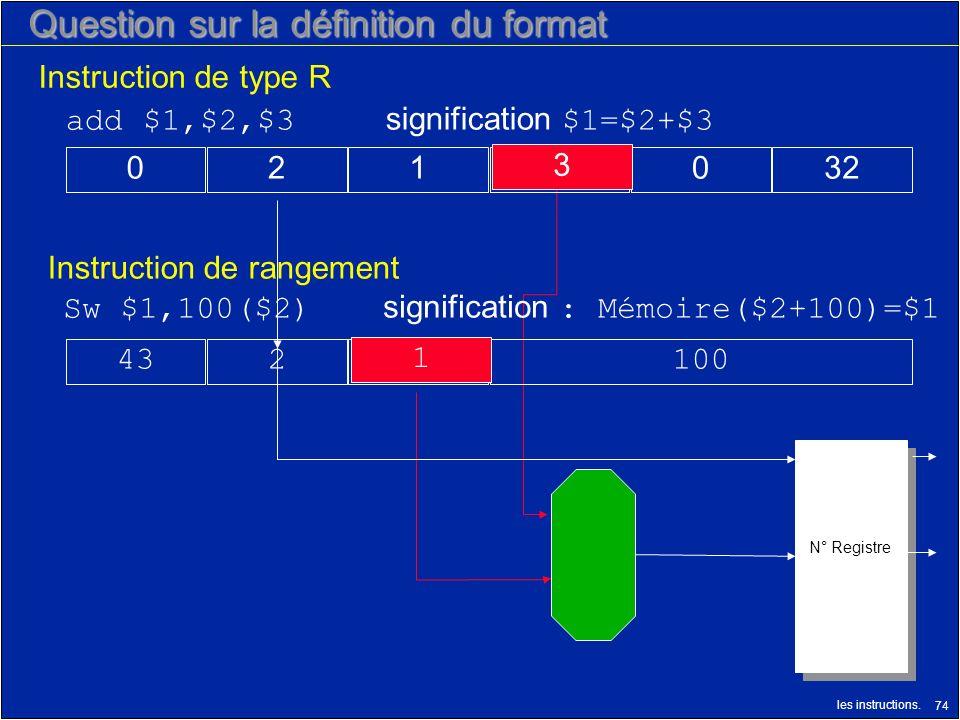 les instructions. 74 N° Registre Question sur la définition du format Instruction de rangement Instruction de type R 1001243 Sw $1,100($2) significati