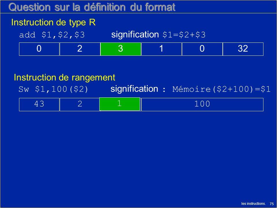 les instructions. 75 Question sur la définition du format Instruction de rangement Instruction de type R 1001243 Sw $1,100($2) signification : Mémoire