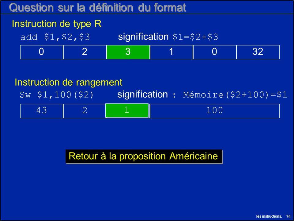 les instructions. 76 Question sur la définition du format Instruction de rangement Instruction de type R 1001243 Sw $1,100($2) signification : Mémoire