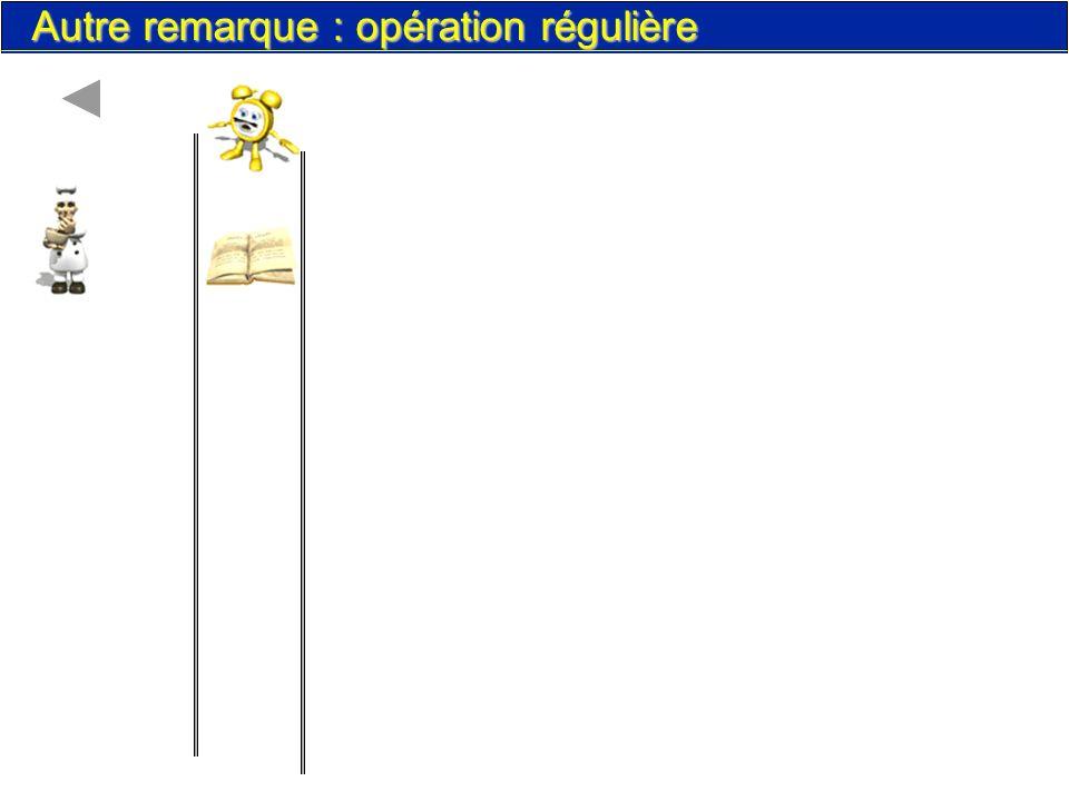 les instructions. 80 Autre remarque : opération régulière