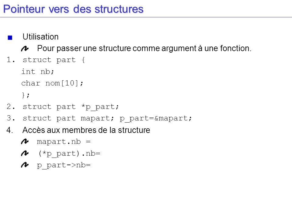 Pointeur vers des structures Utilisation Pour passer une structure comme argument à une fonction. 1.Définition de la structure 2.Déclaration d'un poin