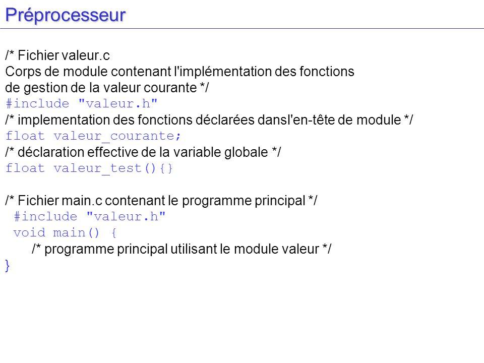Préprocesseur /* Fichier valeur.c Corps de module contenant l'implémentation des fonctions de gestion de la valeur courante */ #include