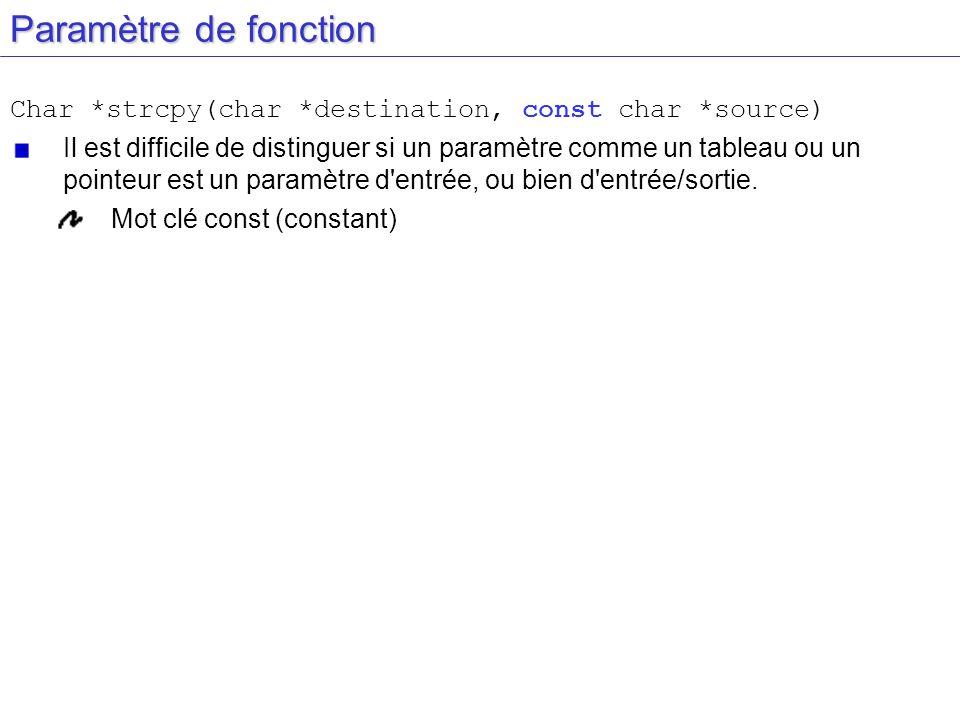 Paramètre de fonction Char *strcpy(char *destination, const char *source) Il est difficile de distinguer si un paramètre comme un tableau ou un pointe