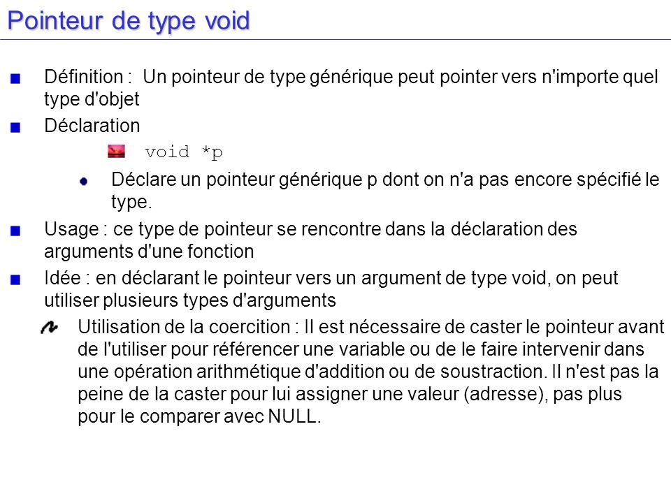 Caster void *x x est un pointeur sur void Cas d un entier x est un pointeur qui pointe sur un entier (int *) x Pour accéder à la variable utilisation de l opérateur d indirection * *(int *) x Remarque : pour un flottant remplacer int par float
