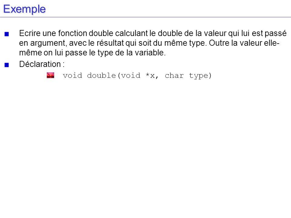 Exemple Ecrire une fonction double calculant le double de la valeur qui lui est passé en argument, avec le résultat qui soit du même type. Outre la va