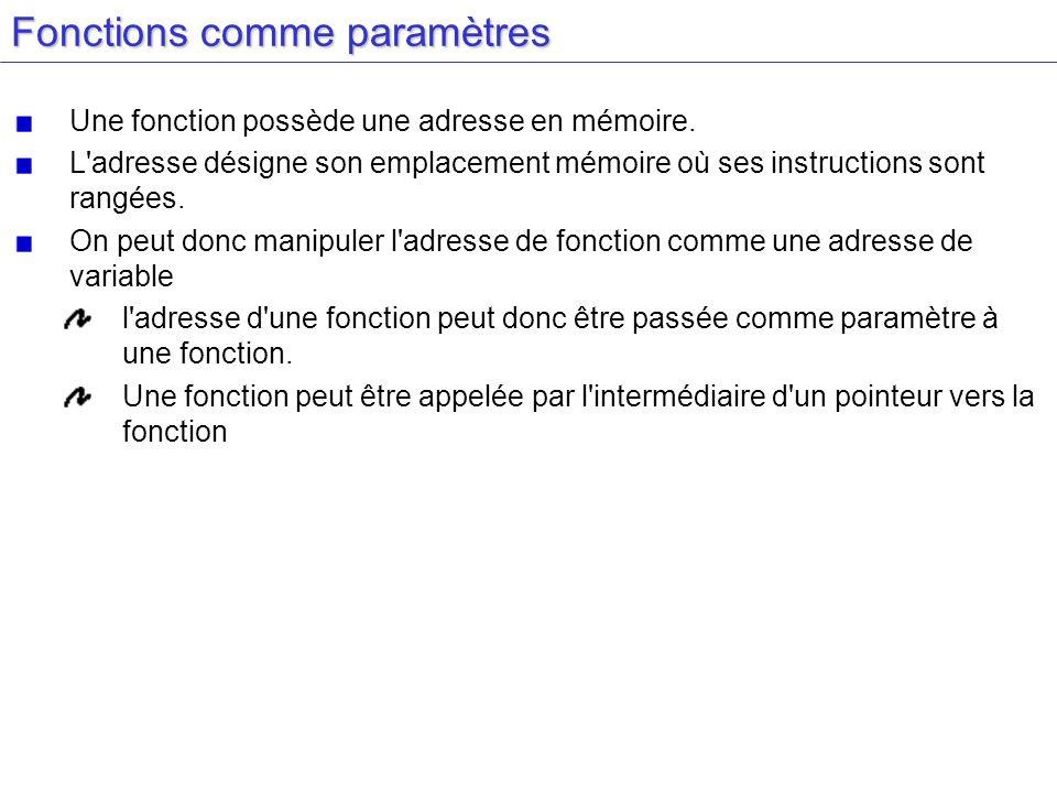 Fonctions comme paramètres Une fonction possède une adresse en mémoire. L'adresse désigne son emplacement mémoire où ses instructions sont rangées. On