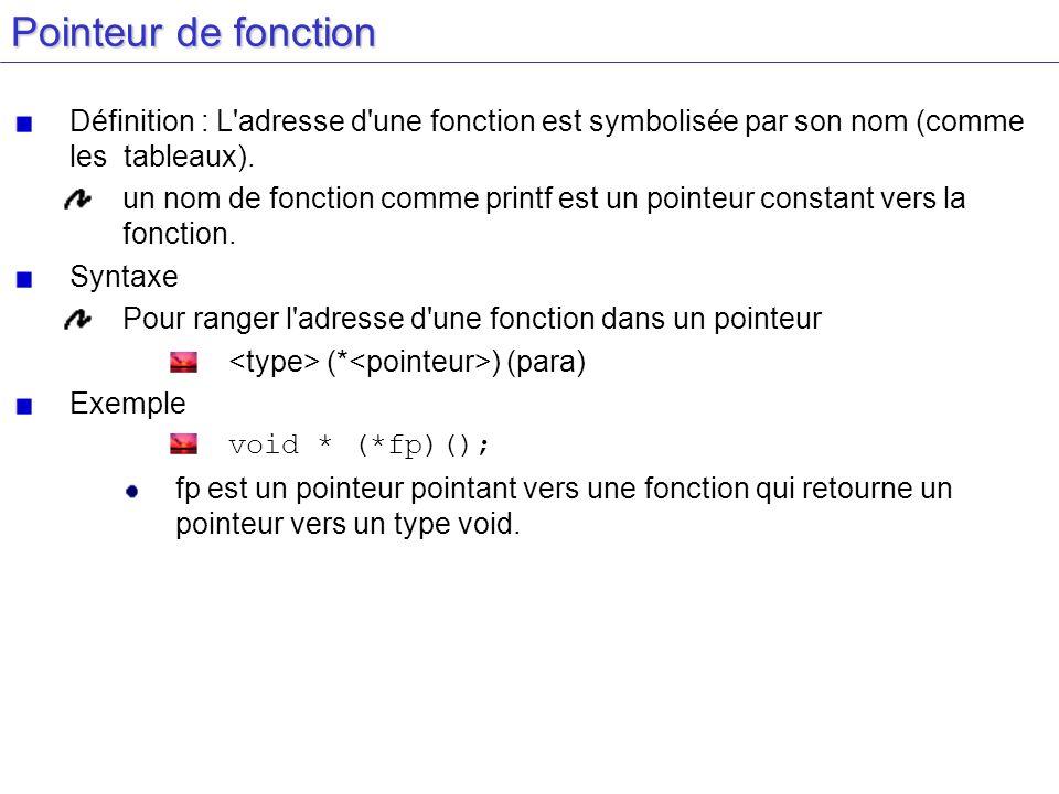 Pointeur de fonction Définition : L'adresse d'une fonction est symbolisée par son nom (comme les tableaux). un nom de fonction comme printf est un poi