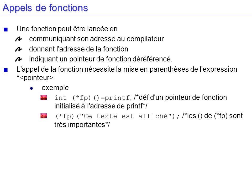 Rappel de Syntaxe int x x variable de type entier int *x x pointeur vers un entier int *x() x fonction qui retourne un pointeur vers un entier int (*x)() x pointeur vers une fonction qui renvoie un entier (*x) exécute alors la fonction x rem : les () sont indispensable la priorité des () est plus forte que l opérateur * int (*x)[10] int (*x())[10] int*(x[10])() int(*x[10])()