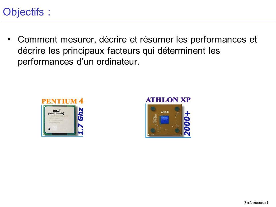 Performances 1 Objectifs : Comment mesurer, décrire et résumer les performances et décrire les principaux facteurs qui déterminent les performances dun ordinateur.