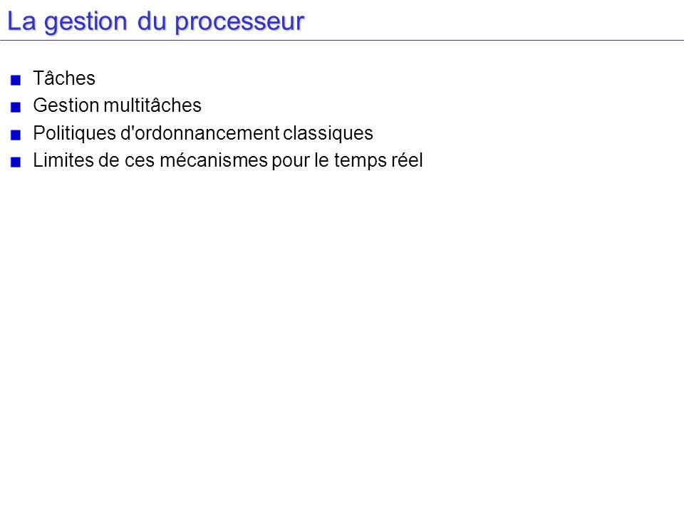La gestion du processeur Tâches Gestion multitâches Politiques d ordonnancement classiques Limites de ces mécanismes pour le temps réel