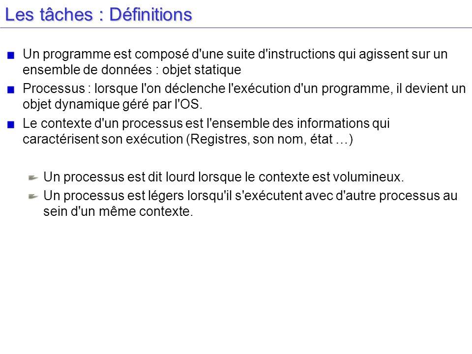 Les tâches : Définitions Un programme est composé d une suite d instructions qui agissent sur un ensemble de données : objet statique Processus : lorsque l on déclenche l exécution d un programme, il devient un objet dynamique géré par l OS.