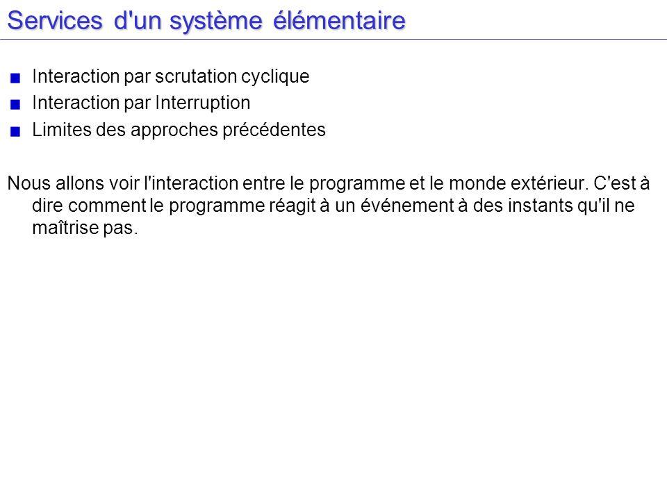 Services d un système élémentaire Interaction par scrutation cyclique Interaction par Interruption Limites des approches précédentes Nous allons voir l interaction entre le programme et le monde extérieur.