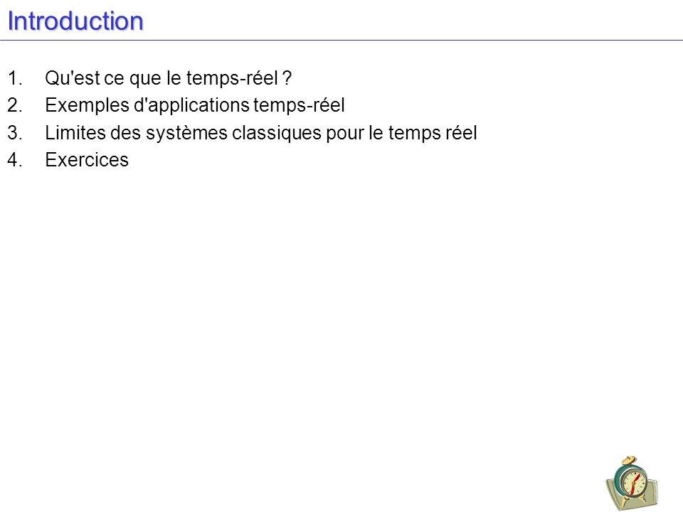 Introduction 1.Qu'est ce que le temps-réel ? 2.Exemples d'applications temps-réel 3.Limites des systèmes classiques pour le temps réel 4.Exercices