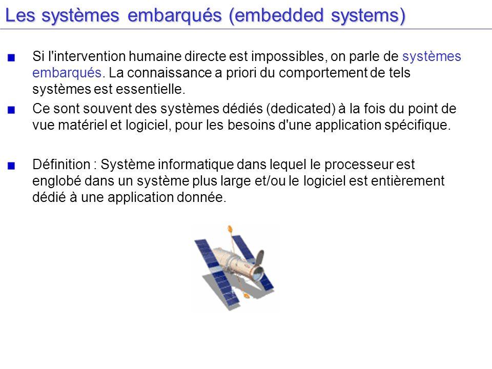 Les systèmes embarqués (embedded systems) Si l'intervention humaine directe est impossibles, on parle de systèmes embarqués. La connaissance a priori