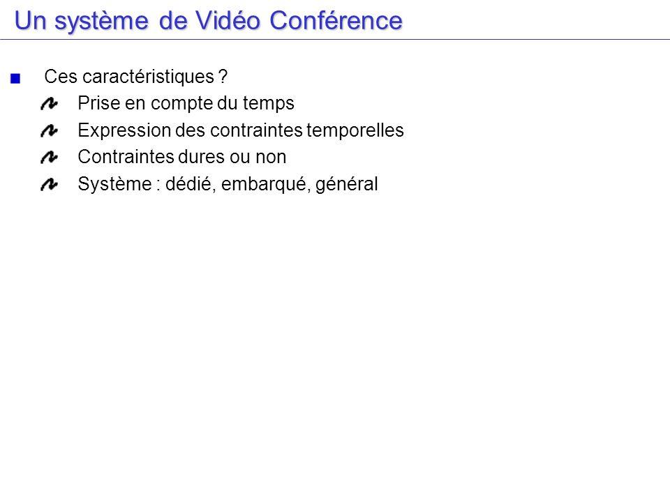 Un système de Vidéo Conférence Un système de Vidéo Conférence Ces caractéristiques ? Prise en compte du temps Expression des contraintes temporelles C