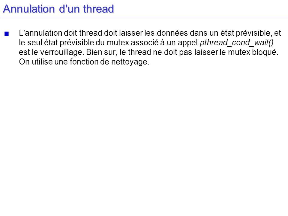 Annulation d'un thread L'annulation doit thread doit laisser les données dans un état prévisible, et le seul état prévisible du mutex associé à un app