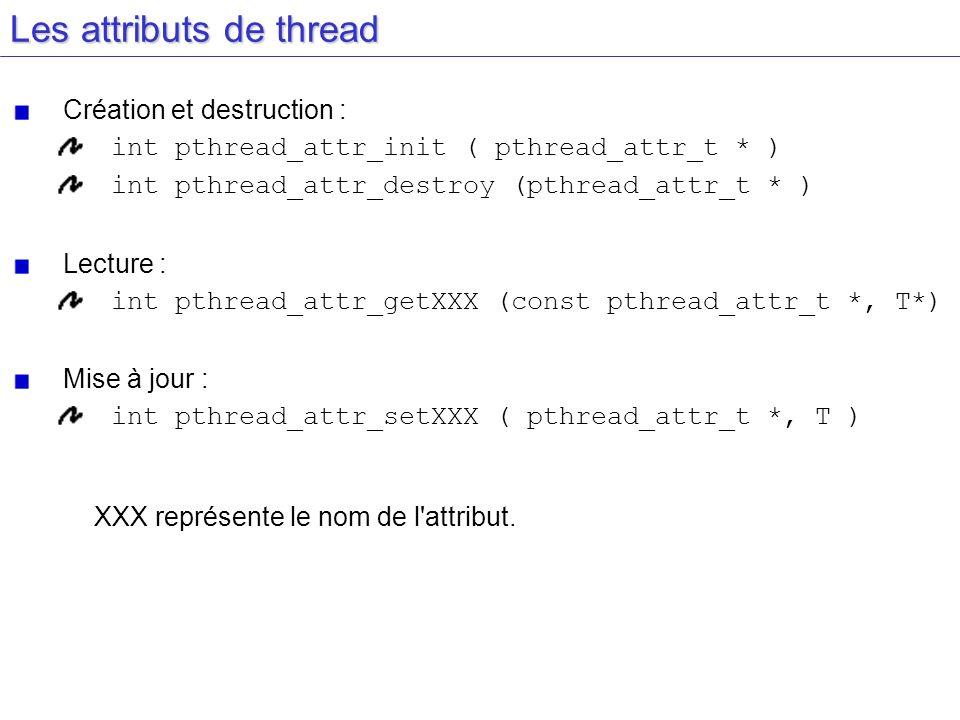Les attributs de thread Création et destruction : int pthread_attr_init ( pthread_attr_t * ) int pthread_attr_destroy (pthread_attr_t * ) Lecture : in