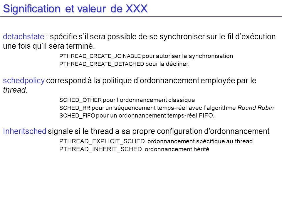 Signification et valeur de XXX detachstate : spécifie sil sera possible de se synchroniser sur le fil dexécution une fois quil sera terminé. PTHREAD_C