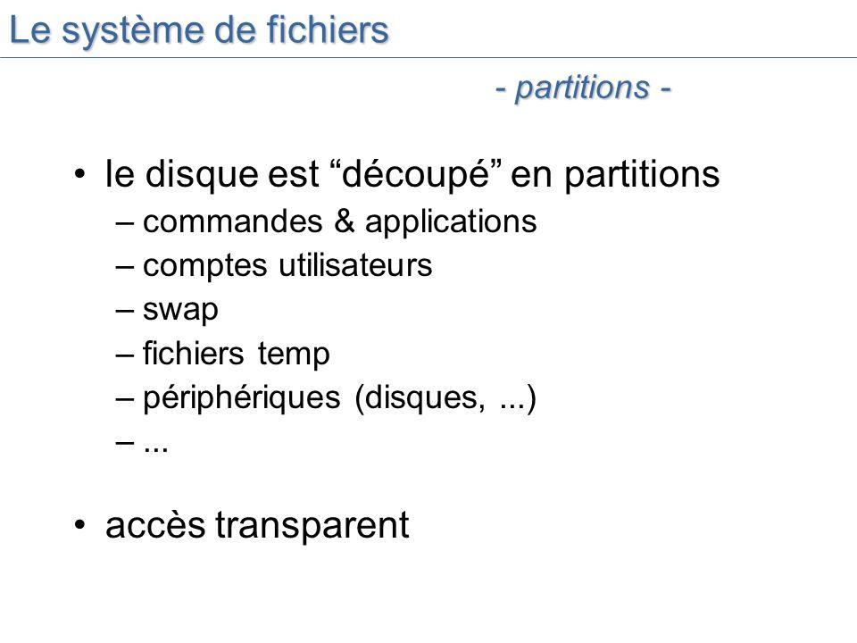 Le système de fichiers le disque est découpé en partitions –commandes & applications –comptes utilisateurs –swap –fichiers temp –périphériques (disques,...) –...