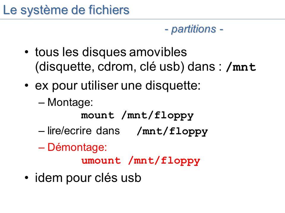 Le système de fichiers tous les disques amovibles (disquette, cdrom, clé usb) dans : /mnt ex pour utiliser une disquette: –Montage: mount /mnt/floppy –lire/ecrire dans /mnt/floppy –Démontage: umount /mnt/floppy idem pour clés usb - partitions -