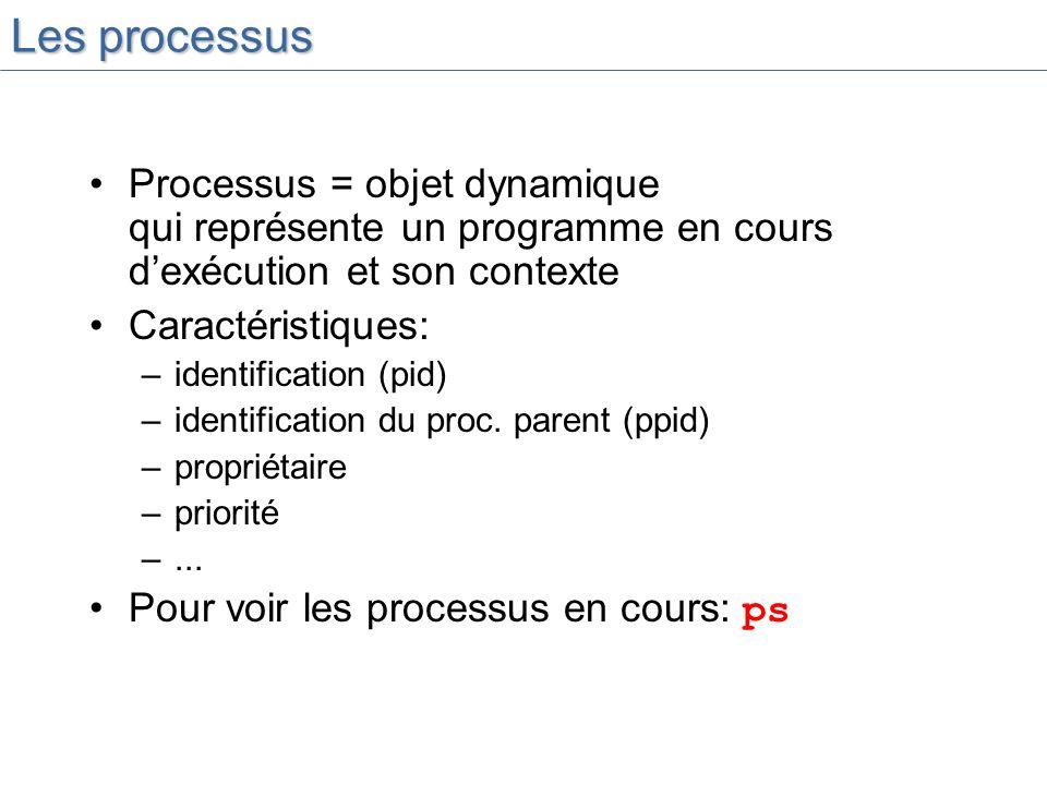 Les processus Processus = objet dynamique qui représente un programme en cours dexécution et son contexte Caractéristiques: –identification (pid) –identification du proc.