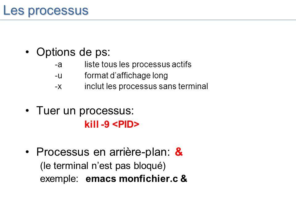 Les processus Options de ps: -aliste tous les processus actifs -uformat daffichage long -x inclut les processus sans terminal Tuer un processus: kill -9 Processus en arrière-plan: & (le terminal nest pas bloqué) exemple: emacs monfichier.c &