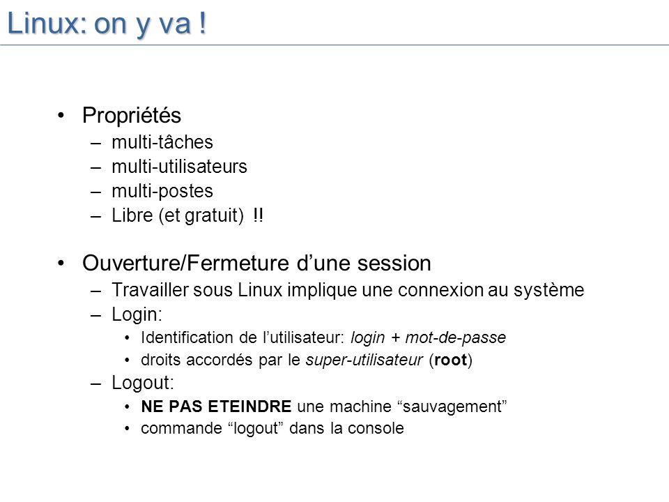Linux: on y va .Propriétés –multi-tâches –multi-utilisateurs –multi-postes –Libre (et gratuit) !.
