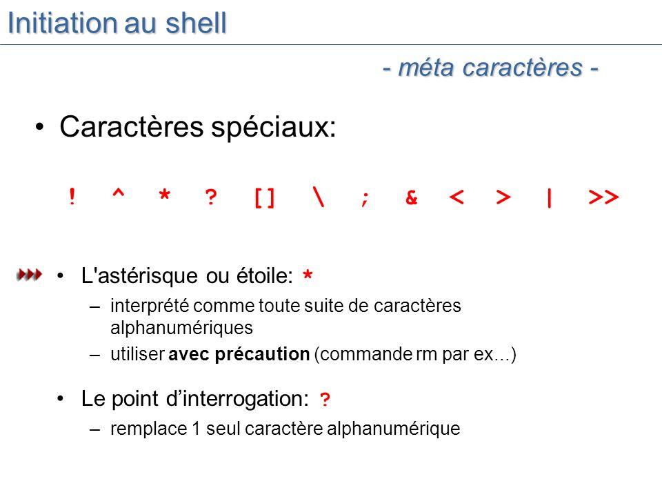 Initiation au shell Caractères spéciaux: .^ * .