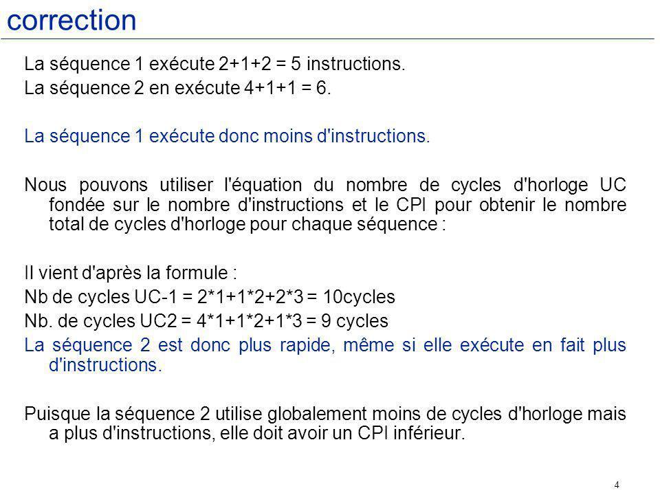 4 correction La séquence 1 exécute 2+1+2 = 5 instructions.