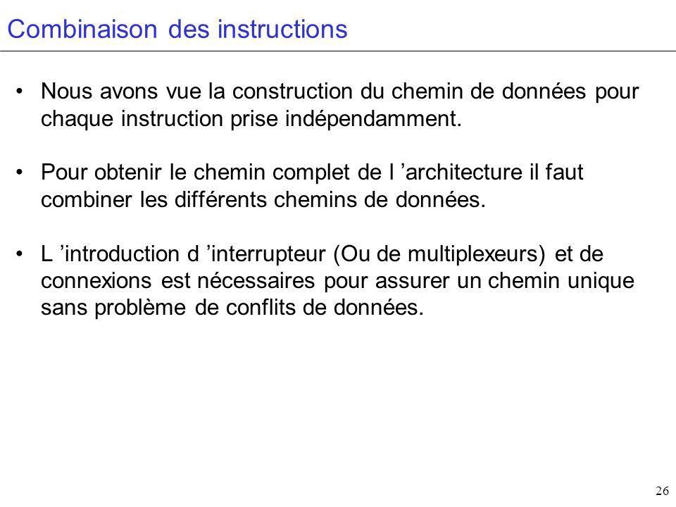 26 Combinaison des instructions Nous avons vue la construction du chemin de données pour chaque instruction prise indépendamment.