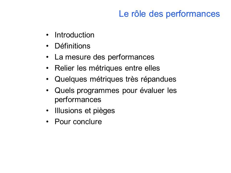 Le rôle des performances Introduction Définitions La mesure des performances Relier les métriques entre elles Quelques métriques très répandues Quels programmes pour évaluer les performances Illusions et pièges Pour conclure