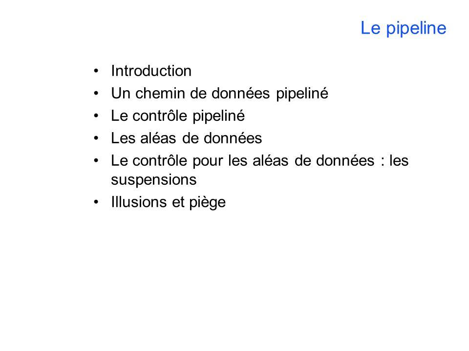 Le pipeline Introduction Un chemin de données pipeliné Le contrôle pipeliné Les aléas de données Le contrôle pour les aléas de données : les suspensions Illusions et piège