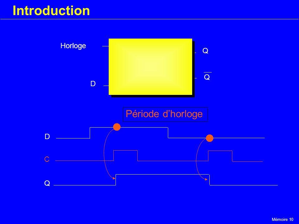 Mémoire 10 Introduction Horloge D Q Q D C Q Période dhorloge