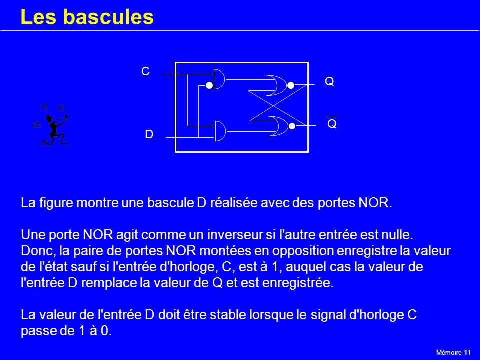 Mémoire 11 Les bascules C D Q Q La figure montre une bascule D réalisée avec des portes NOR. Une porte NOR agit comme un inverseur si l'autre entrée e