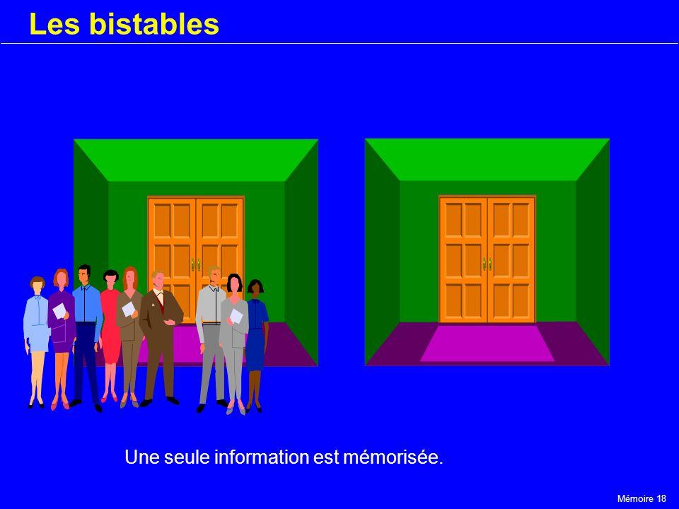 Mémoire 18 Les bistables Une seule information est mémorisée.