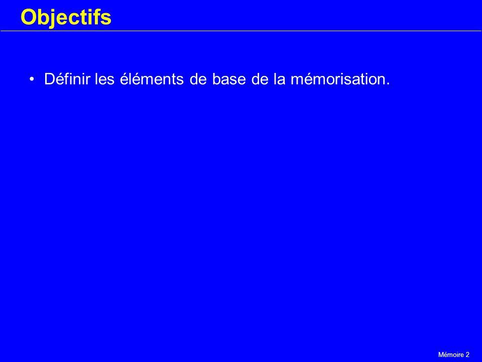 Mémoire 2 Objectifs Définir les éléments de base de la mémorisation.