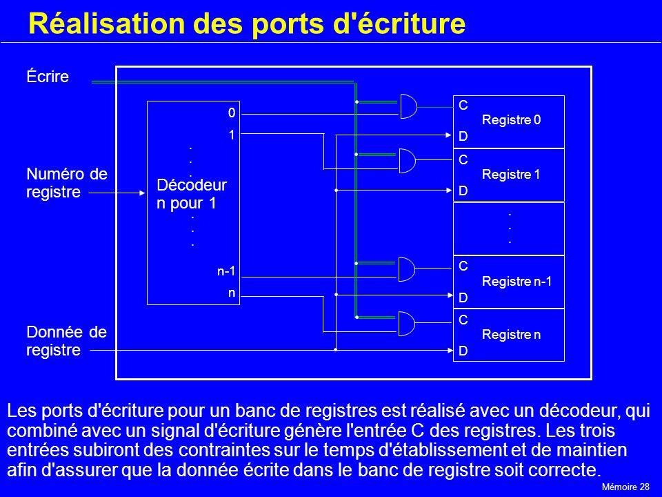 Mémoire 28 Réalisation des ports d'écriture Registre 0 C D Registre 1 C D Registre n-1 C D Registre n C D...... 0 1 Décodeur n pour 1 n-1 n...........