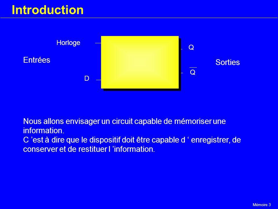 Mémoire 3 Introduction Horloge D Q Q Nous allons envisager un circuit capable de mémoriser une information. C est à dire que le dispositif doit être c