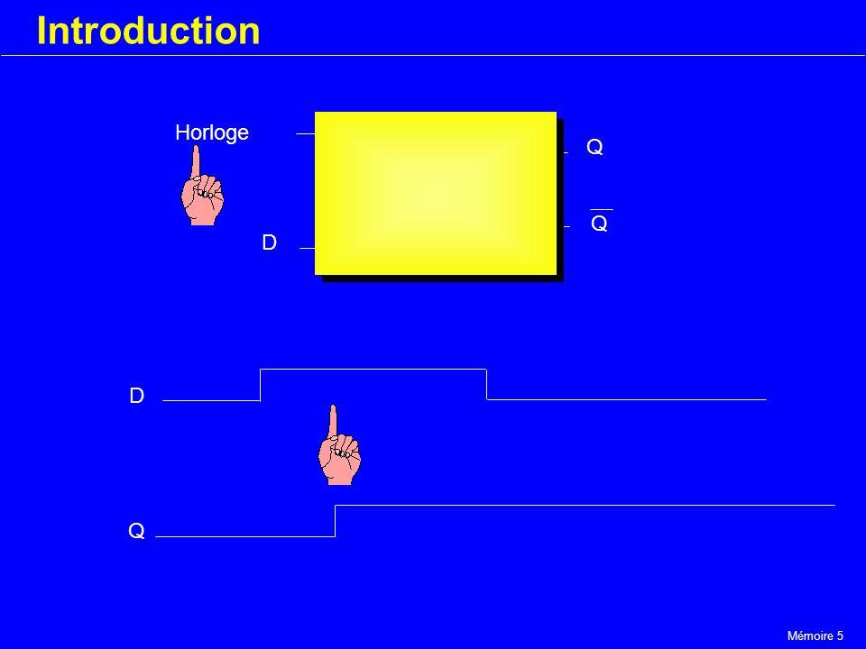 Mémoire 5 Introduction Horloge D Q Q D Q