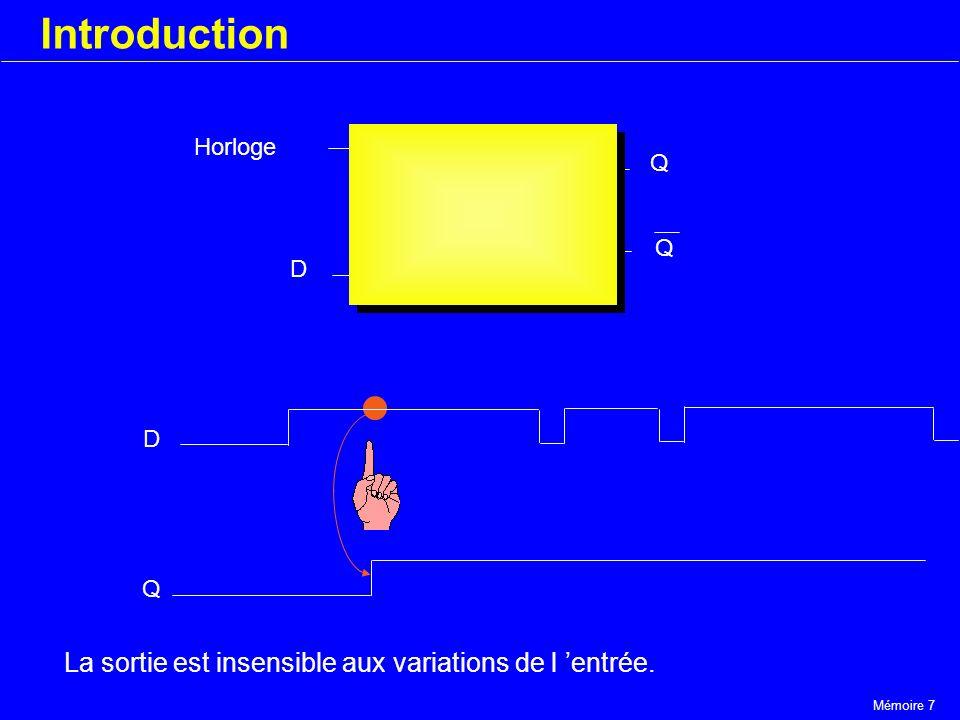 Mémoire 7 Introduction Horloge D Q Q D Q La sortie est insensible aux variations de l entrée.
