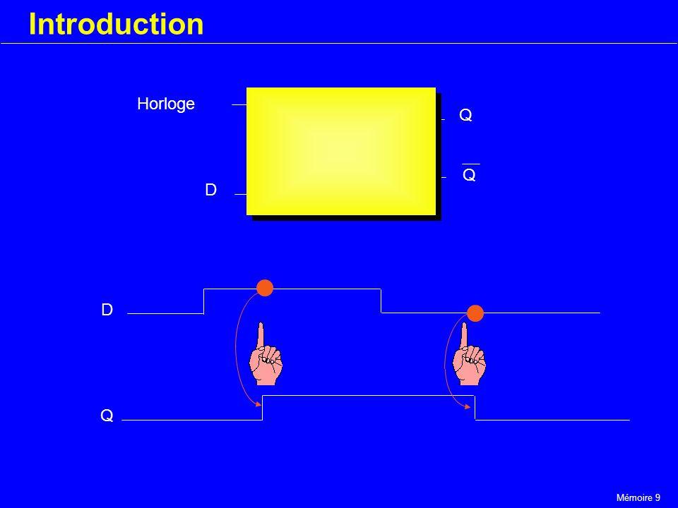 Mémoire 9 Introduction Horloge D Q Q D Q