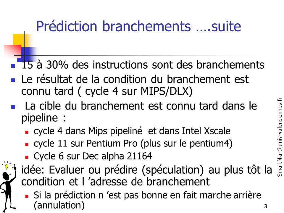 Smail.Niar@univ-valenciennes.fr 4 3 cycles perdus à chaque branchement (pris)